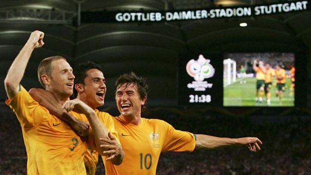 Greats … Craig Moore, Tim Cahill and Harry Kewell.