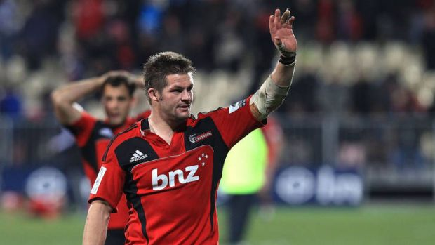 Richie McCaw salutes the Crusaders fans.