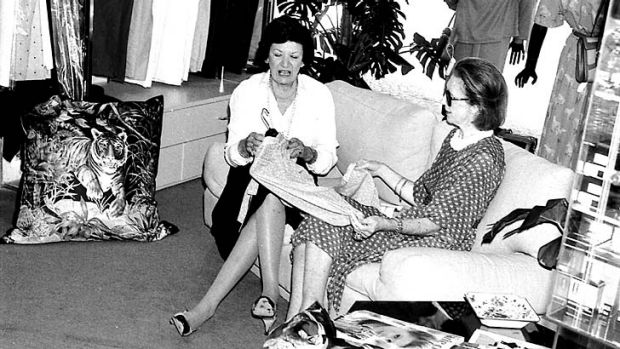 Best advice ... Barbara Craven, left, and a client at Gucci in Sydney in 1981.