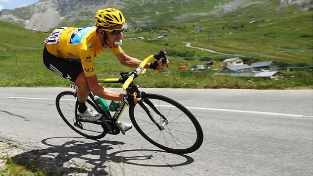 Race leader Bradley Wiggins in action in the Tour.