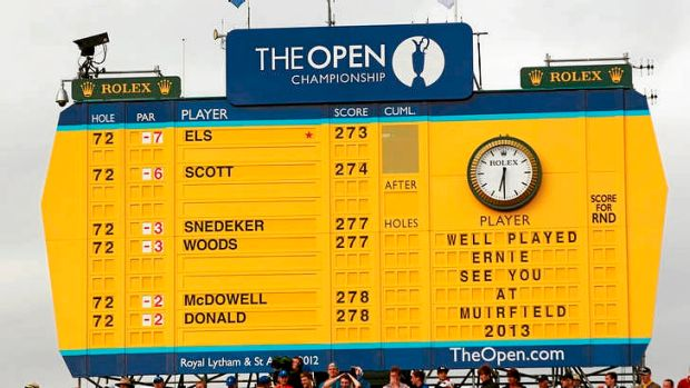The scoreboard tells the story of the British Open.