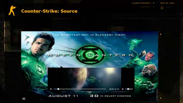 A Pinion ad for the film Green Lantern appears in the game Counter-Strike.