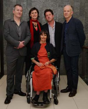 Agony and the ecstasy … Luke Davies, left, with fellow winners Judy Watson, Robert Newton, Mark McKenna and ...