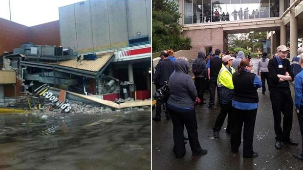 Partial collapse ... (left) an image of the collapse posted on Twitter by @ashmmmm via Tom Harris and (right) people ...