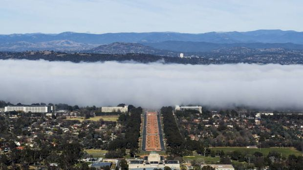 Fog over Canberra at 9.30am this morning.