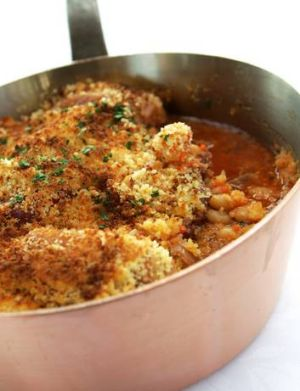 Guillaume Brahimi's cassoulet. The recipe here has a similar crumbed top, and uses sous-vide techniques.