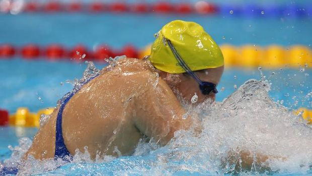 Leisel Jones trains at the Olympic aquatic centre yesterday.