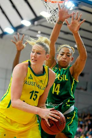 Lauren Jackson in action for the Opals against Brazil last month.