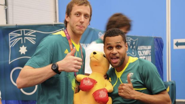 Patrick Mills, right, hamming it up with Joe Ingles in London. But it hasn't all been fun and games for the Indigenous ...