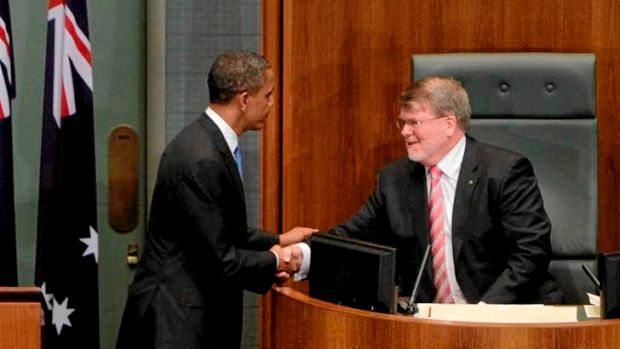 Former Speaker Harry Jenkins here with President of the United States Barack Obama, is retiring from Parliament.