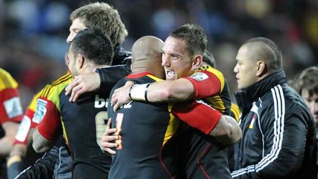 Fired by passion … Aaron Cruden celebrates after the Chiefs turned the tables on the Crusaders in a display of ...