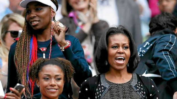 First Lady Michelle Obama joins Venus Williams (top left) and former gymnast Dominique Dawes (bottom left) in cheering ...