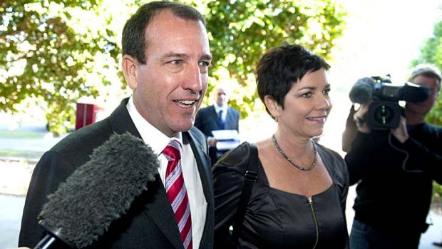 Mal Brough arrives with his wife Sue for today's LNP Fisher preselection at Caloundra RSL.