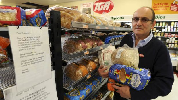 Ainslie IGA supermarket owner Manuel Xyrakis is waging a campaign against Tip Top Bakeries.