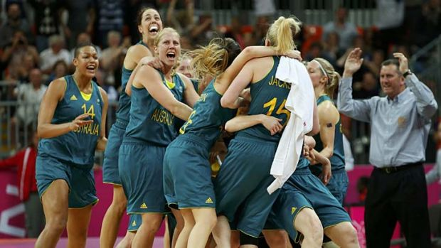 Couldn't believe it ... the Aussie players celebrate after Belinda Snell's shot.