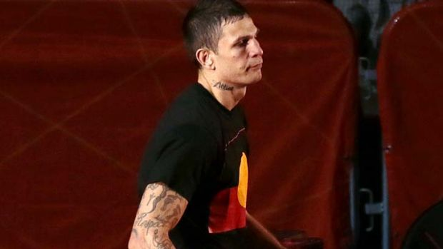 Controversial ... Damien Hooper  wore a T-shirt bearing the Aboriginal flag.