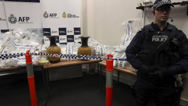 Huge haul ... the Australian Federal Police displays some of the ice seized in the operation.