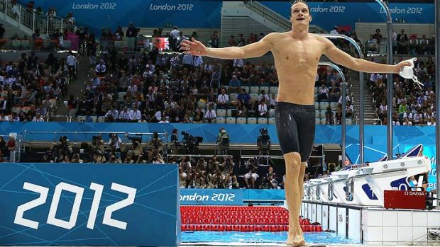 Yannick Agnel celebrates after his 200m freestyle victory.