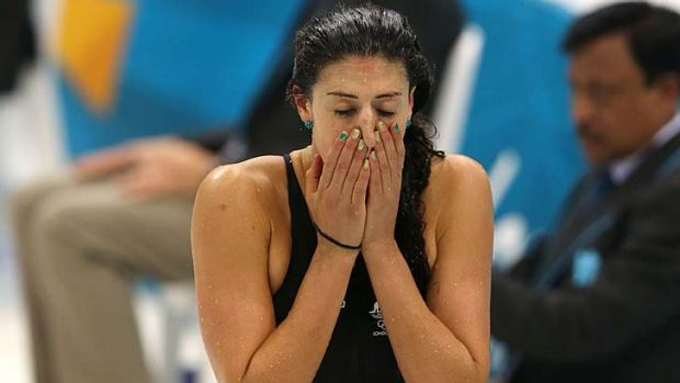 Dejected ... Stephanie Rice failed to hit the heights of Beijing.