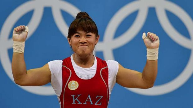 """This is for all the people who have cheered for me"" ... Maiya Maneza, after winning the weightlifting women's 63kg ..."