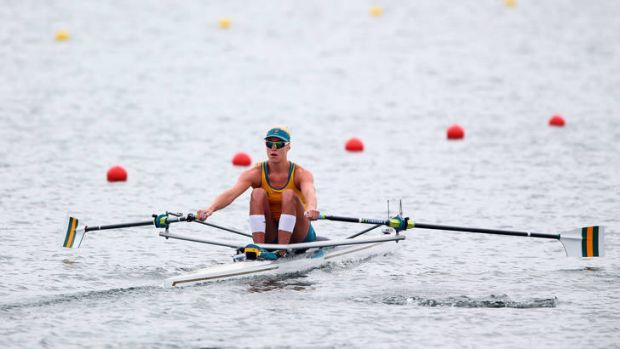 Kim Crow competes in the women's single sculls in London.