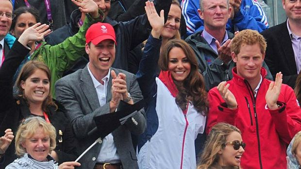 Regal support … Princess Eugenie, Prince William, the Duchess of Cambridge and Prince Harry support their cousin ...