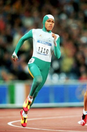 Don't trip over: Cathy Freeman runs for gold.
