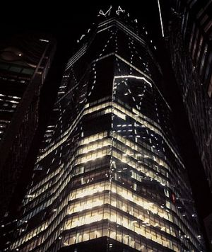 One One One Eagle Street lit up on Wednesday night.