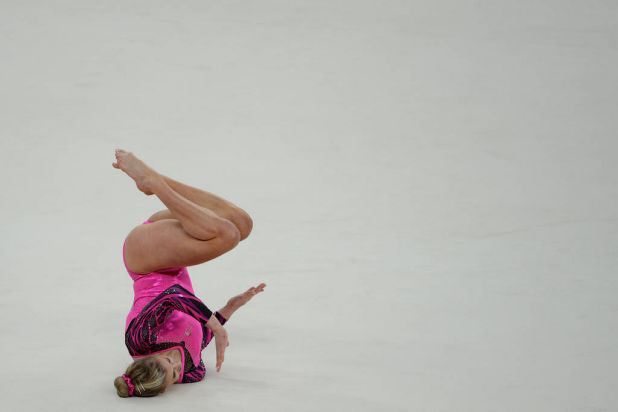 Australia's Ashleigh Brennan in action on the floor as part of the artistic gymnastics women's individual all-around final.