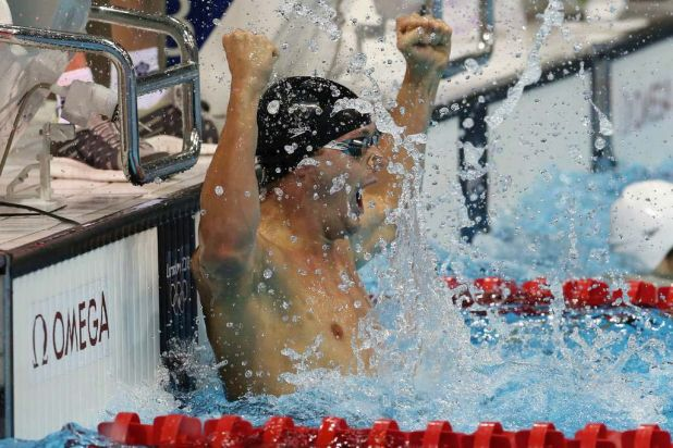 Tyler Clary of the US wins gold in the men's 200m backstroke.