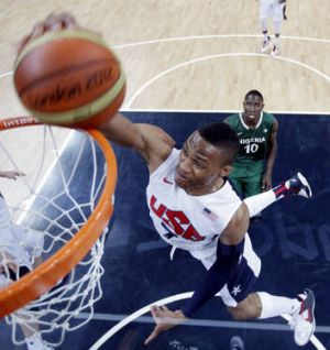 USA's Russell Westbrook  scores against Nigeria.