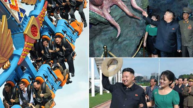Taken for a ride ... British charge d'affaires Barnaby Jones, bottom centre, takes a spin with Kim Jong Un, top right in ...