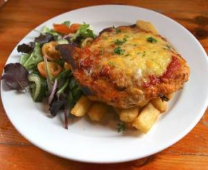 Chicken parmigiana from the Maori Chief Hotel.