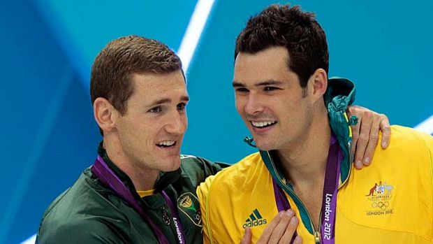 Controversy ... Gold medallist Cameron van der Burgh, left, used illegal dolphin kicks in his win over Christian Sprenger.