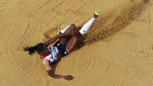 Into the finals ... Britain's Yamile Aldama competes in the women's triple jump qualification rounds in London.
