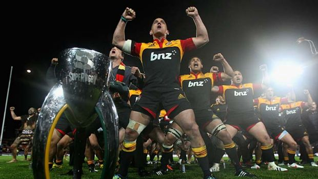 Aaron Cruden of the Chiefs leads the Haka.