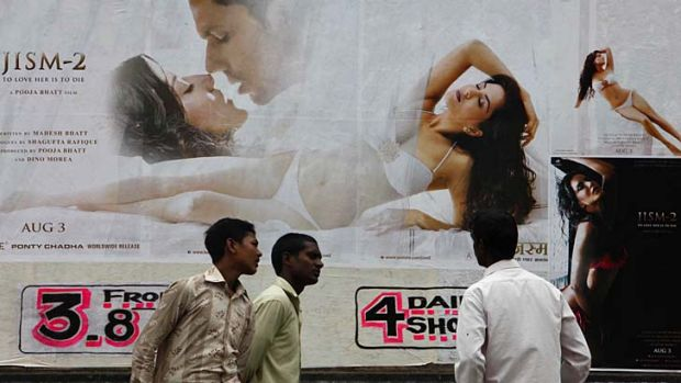 Thinly veiled … a poster for Jism 2 leaves passers-by under no illusions as to its selling point: porn star Sunny ...