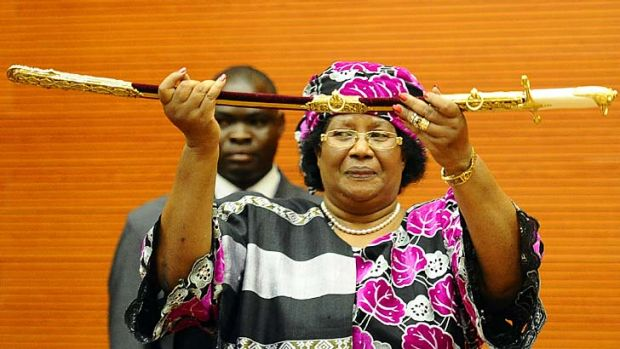 Empowered … the Malawi President, Joyce Banda, at her swearing-in ceremony.