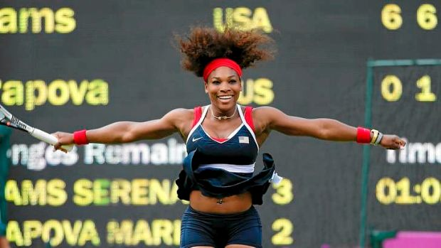 Serena Williams of the US celebrates after winning the women's singles gold medal match against Russia's Maria Sharapova ...