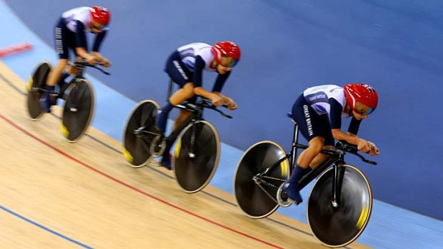 Dani King, Laura Trott, and Joanna Rowsell of Great Britain won the gold medal in the women's team pursuit.