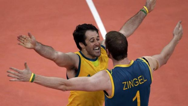 Onslaught ... Australia's Aidan Zingel and Aden Tutton celebrate a point against Italy.
