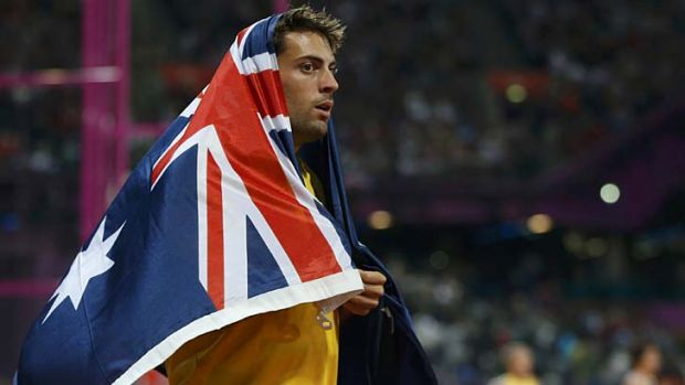 Australia's Mitchell Watt celebrates winning the silver medal in the men's long jump final.