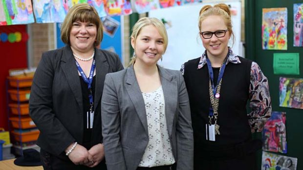 Supported … (from left) the St Paul's Grammar director of planning and organisation, Karen Keogh, with teachers ...