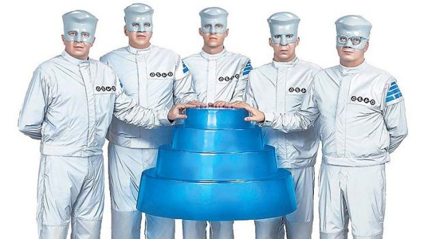 Back to the future … ''We're no longer ahead of our time,'' says Devo's Gerald Casale, far left, with bandmates ...