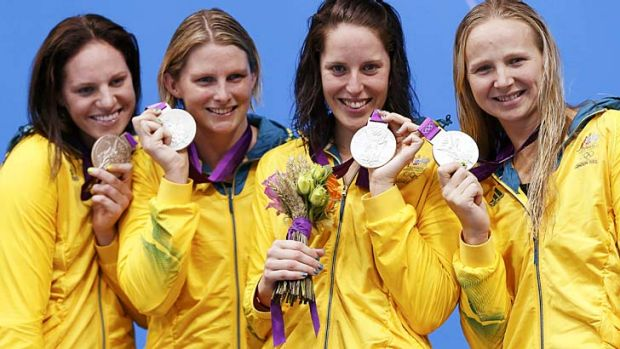 Silver surfers … the women's relay team who came second.