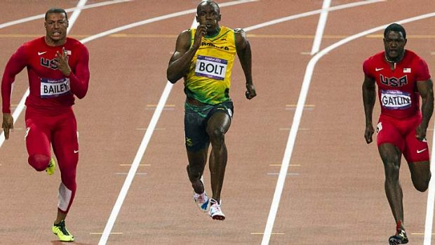 Usain Bolt powers to victory in the 100m.