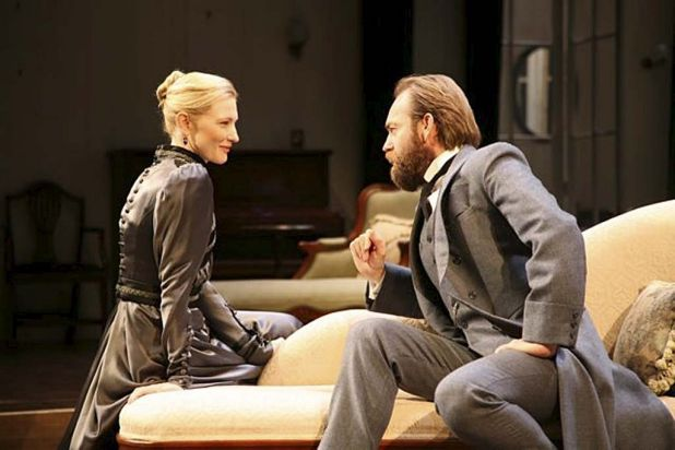 Cate Blanchett and Hugo Weaving behind the scenes in Hedda Gabler.