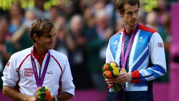 Andy Murray may have won gold ... but  Roger Federer (left) is still ahead of him in terms of earnings.