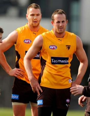 Keen: Hawthorn's Max Bailey and David Hale.