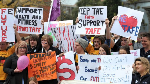 Students protest at Ballarat University TAFE recently.  The university is proposing to join with six other TAFE ...